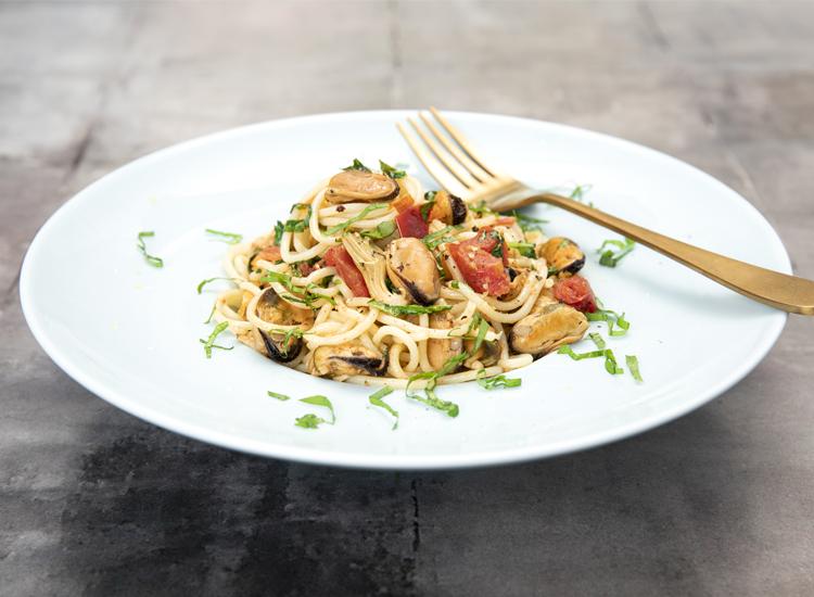 Bornholms muslinger i spaghetti